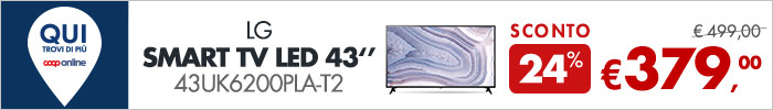 LG Smart TV Led 43'' a 379€