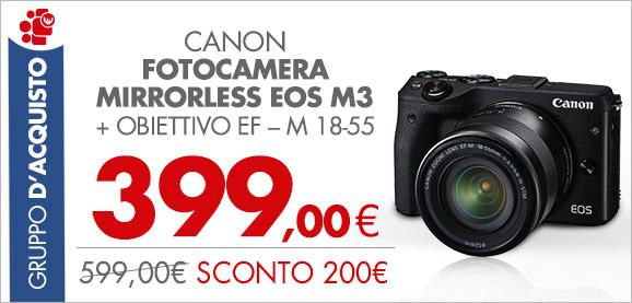 CANON Fotocamera Mirrorless EOS M3 + obiettivo 18-55 a 399€